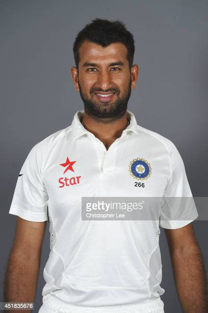 Cheteshwar Pujara of India poses on July 7 2014 in NottinghamEngland