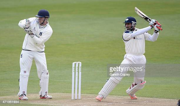 Cheteshwar Pujara of Yorkshire bats during day two of the LV County Championship Division One match between Yorkshire and Warwickshire at Headingley...