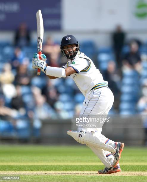 Cheteshwar Pujara of Yorkshire bats during the Specsavers County Championship Division One match between Yorkshire and Nottinghamshire at Headingley...