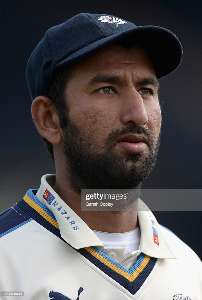 Cheteshwar Pujara of Yorkshire during day three of the LV County Championship Division One match between Yorkshire and Warwickshire at Headingley on April 28, 2015 in Leeds, England.