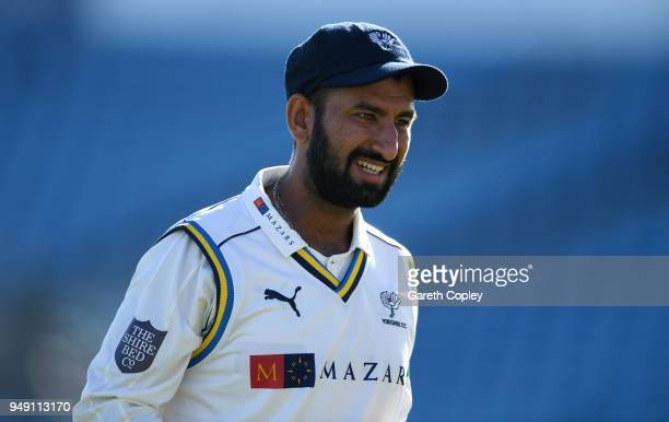 Cheteshwar Pujara of Yorkshire during the Specsavers County Championship Division One match between Yorkshire and Nottinghamshire at Headingley on...