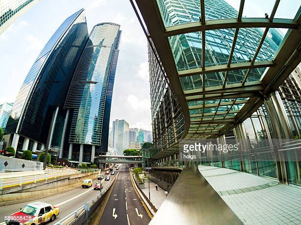 cheung kong center footbridge - cheung kong centre stock pictures, royalty-free photos & images
