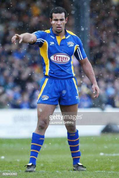 Chev Walker of Leeds pictured during the Tetleys Super League match between Leeds Rhinos and London Broncos at Headingley on February 22 2004 in...