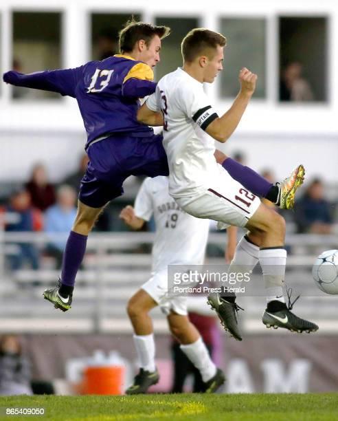 Cheverus midfielder James Shimansky and Gorham captain Aaron Farr vie for possession after a goalie kick