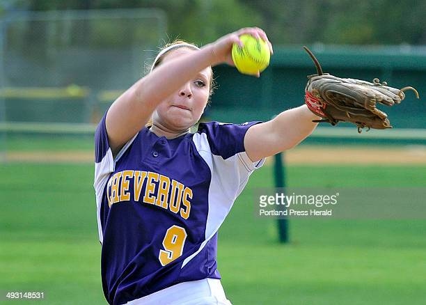 Cheverus pitcher Brittany Bell winds up for a pitch as Cheverus HS softball hosts Portland