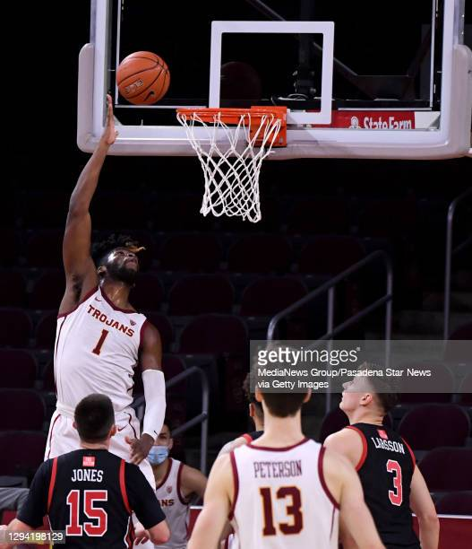 Chevez Goodwin of the USC Trojans shoots against he Utah Utes In the second half of a NCAA basketball game at Galen Center on the campus of the...