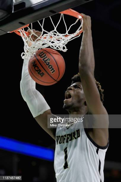 Chevez Goodwin of the Wofford Terriers dunks the ball in the first half against the Seton Hall Pirates during the first round of the 2019 NCAA Men's...