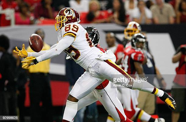 Chevis Jackson of the Atlanta Falcons defends a pass intended for Santana Moss of the Washington Redskins at Georgia Dome on November 8 2009 in...