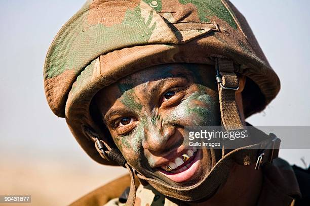 Chevonn Malgas from Port Elizabeth one of the female soldiers on Exercise Golfinho poses September 7 2009 in South Africa Close to 6500 troops police...