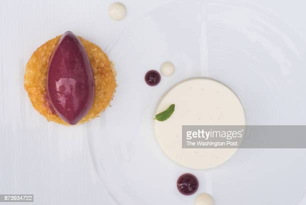 Chevre Panna Cotta with caramelized brioche and concord grape sorbet at Siren in Washington DC on October 28 2017