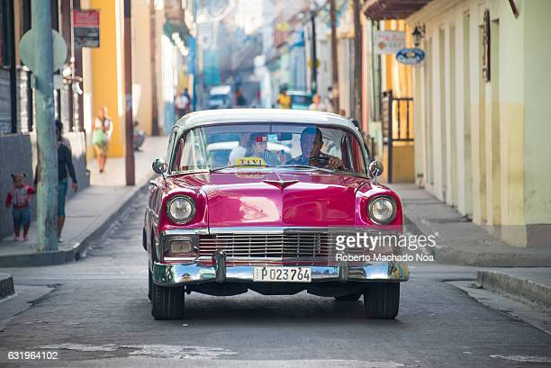 Chevrolet 1957 working as taxi Cuba old vintage cars in action Economic hardship has forced Cuban people to maintain pre Revolution cars in working...