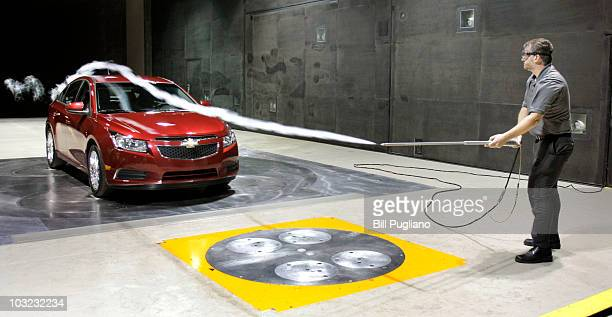 Chevrolet 2011 Cruze ECO is shown being tested by Jason Guenzel Performance Engineer Aerodynamics at the world's largest automotive wind tunnel...