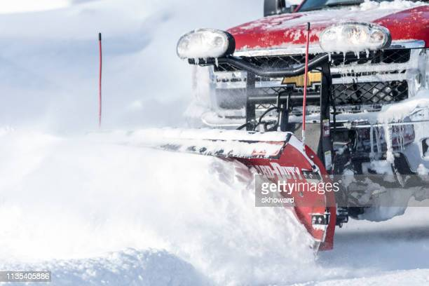 chevrolet 4x4 pick-up truck plowing snow - snowplow stock pictures, royalty-free photos & images