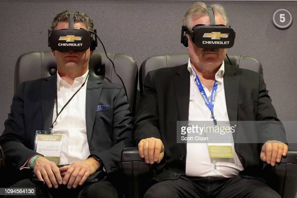 Chevrolet allows visitors to take virtual test drives of their vehicles at the North American International Auto Show at the Cobo Center on January...