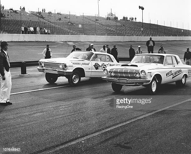 Chevrolet and a Dodge get set to square off during drag races which were held on the pit road of Atlanta International Raceway