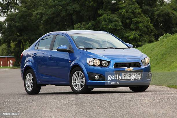 chevrolet aveo/sonic on the street - chevrolet stock pictures, royalty-free photos & images