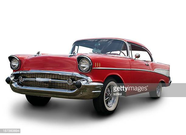 a chevrolet bel air 1957 against a white background - hot rod car stock photos and pictures