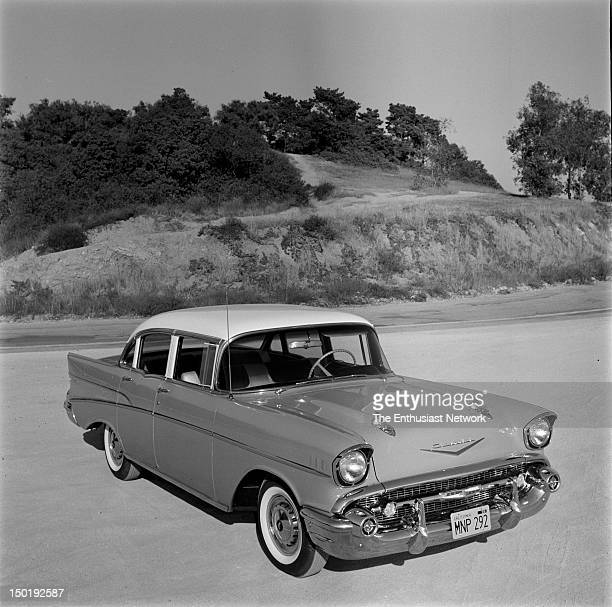 Chevrolet Bel Air 4Door Photos focus on the updated styling of the new Chevrolet including the wide grille and bumper to the tail fins