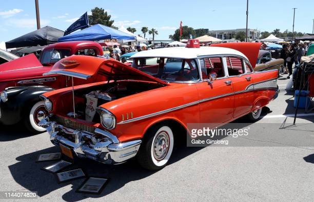 Chevrolet Bel Air is displayed during the Viva Las Vegas Rockabilly Weekend's car show at the Orleans Arena on April 20 2019 in Las Vegas Nevada