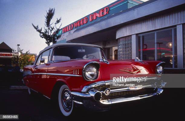 Chevrolet Bel Air twotone convertible outside the Hollywood Diner on the corner of Sunset Boulevard and La Brea Los Angeles California 1989