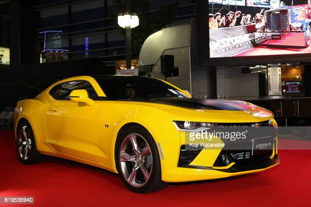 Chevrolet Camaro Is displayed at the Japanese premiere of 'Transformers The Last Knight' at TOHO Cinemas Shinjuku on July 20 2017 in Tokyo Japan