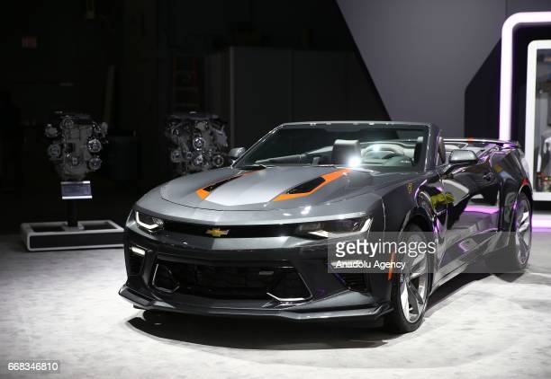 Chevrolet Camaro is displayed at the New York International Auto Show in New York City United States on April 13 2017