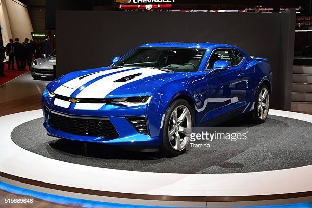 chevrolet camaro on the motor show - camaro stock photos and pictures