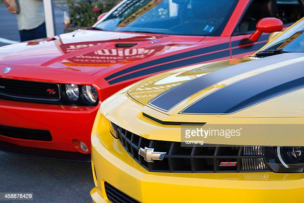 chevrolet camaro ss and dodge challenger rt - camaro stock photos and pictures