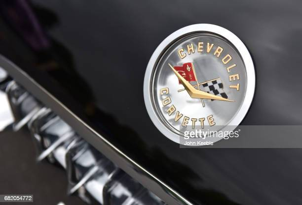 Chevrolet Corvette C1 bonnet badge on display at the London Motor Show at Battersea Evolution on May 4, 2017 in London, England. 41 dealerships and...
