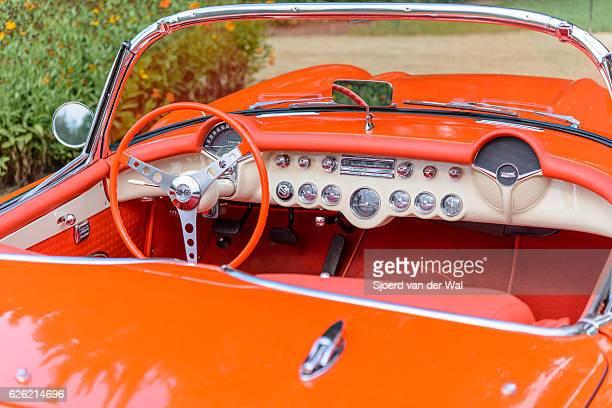 "chevrolet corvette c1 classic sports car interior - ""sjoerd van der wal"" stock pictures, royalty-free photos & images"