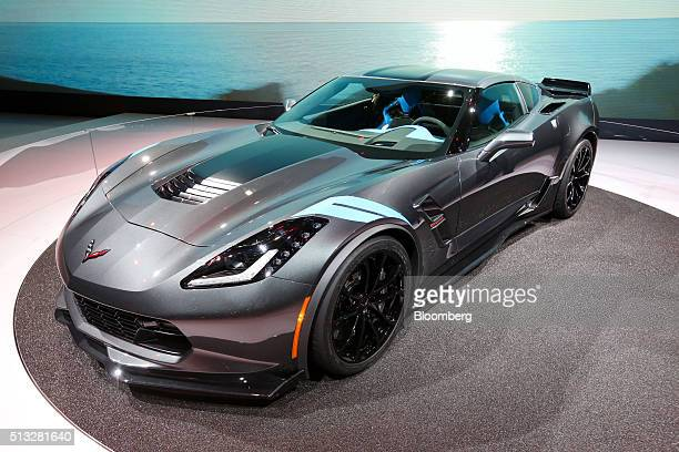 A Chevrolet Corvette Grand Sport automobile produced by General Motors Co sits on display on the second day of the 86th Geneva International Motor...