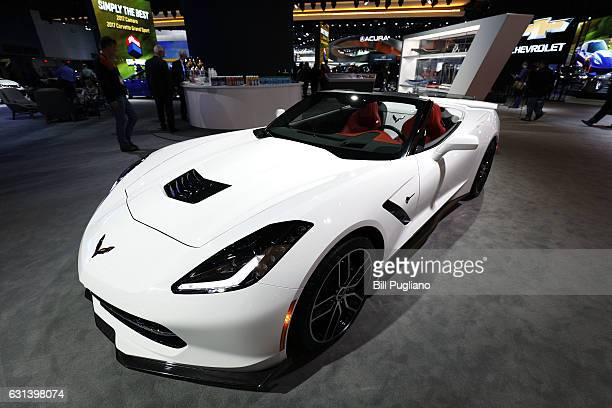 Chevrolet Corvette is shown at the 2017 North American International Auto Show on January 10 2017 in Detroit Michigan Approximately 5000 journalists...