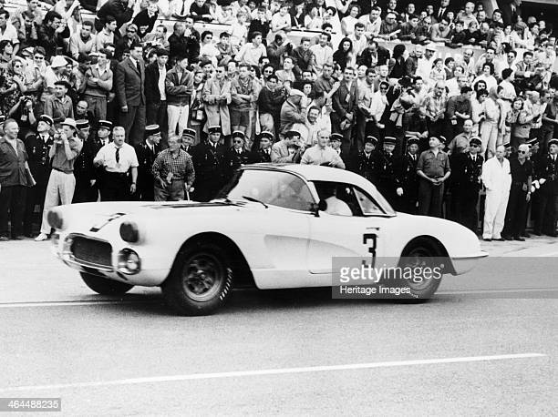 Chevrolet Corvette, Le Mans, France, 1960. The car was driven by John Fitch and Bob Grossman to an 8th place finish in the Le Mans 24 Hours.
