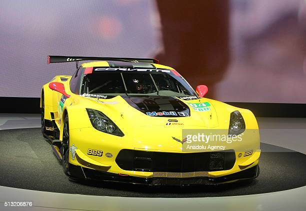 Chevrolet Corvette Z06 is on display during the first press day of the 86th Geneva International Motor Show in Geneva Switzerland on March 1 2016