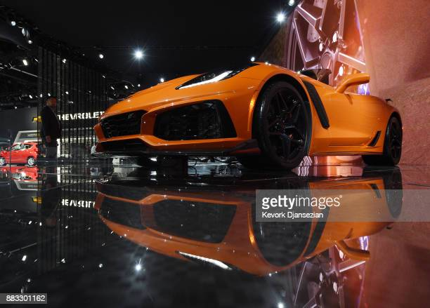 Chevrolet Corvette ZR1 Convertible is on display during the auto trade show AutoMobility LA at the Los Angeles Convention Center November 30 in Los...