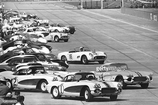 Chevrolet Corvettes pull away first after the ÒLe Mans startÓ for the running of the 12 Hours of Sebring at Sebring International Raceway
