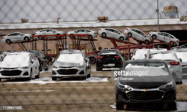 Chevrolet Cruzes are loaded for shipping at the GM Lordstown plant on March 6 2019 in Lordstown Ohio The sprawling facility was idled today after...