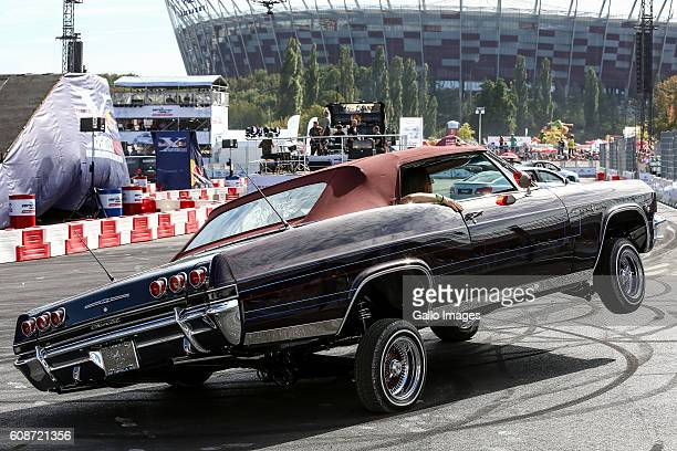 Chevrolet Impala does a trick during VERVA Street Racing on September 17 2016 at PGE Narodowy in Warsaw Poland VERVA Street Racing is a recurring...
