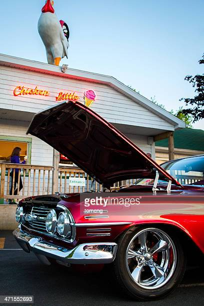 chevrolet impala in front of ice cream parlor - chevrolet impala stock pictures, royalty-free photos & images