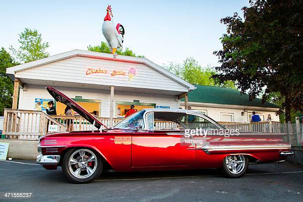 chevrolet impala in front of ice cream parlor - bedford nova scotia stock pictures, royalty-free photos & images