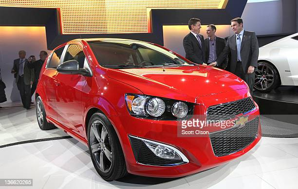 Chevrolet introduces the 2013 Chevrolet Sonic during the press preview at the North American International Auto Show at the COBO Center on January 9,...