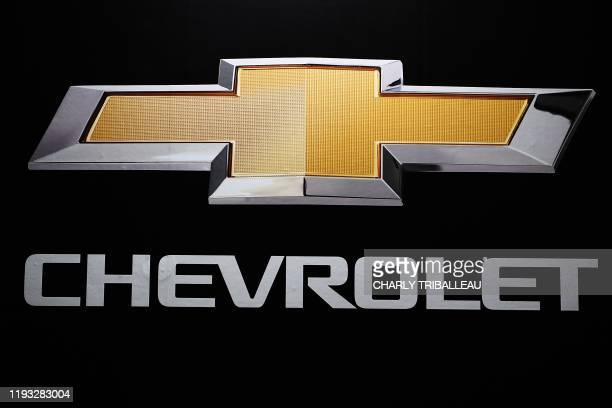 Chevrolet logo is pictured during the Tokyo Auto Salon in Tokyo on January 12, 2020.