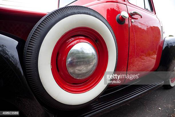1949 chevrolet pickup truck spare tire - terryfic3d stock pictures, royalty-free photos & images