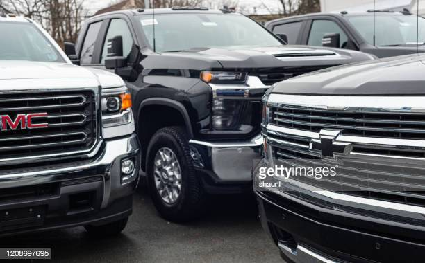 2020 gmc & chevrolet pickup trucks - chevrolet stock pictures, royalty-free photos & images