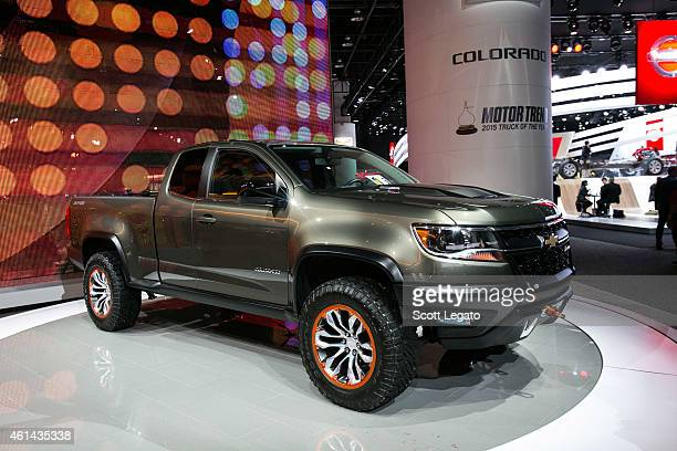 Chevrolet reveals the new Colorado to the media at the 2015 North American International Auto Show at Cobo Center on January 12, 2015 in Detroit,...