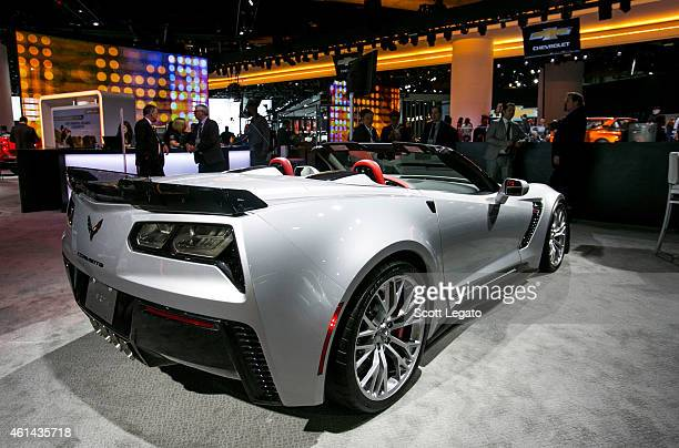 Chevrolet reveals the new Corvette Z06 to the media at the 2015 North American International Auto Show at Cobo Center on January 12 2015 in Detroit...