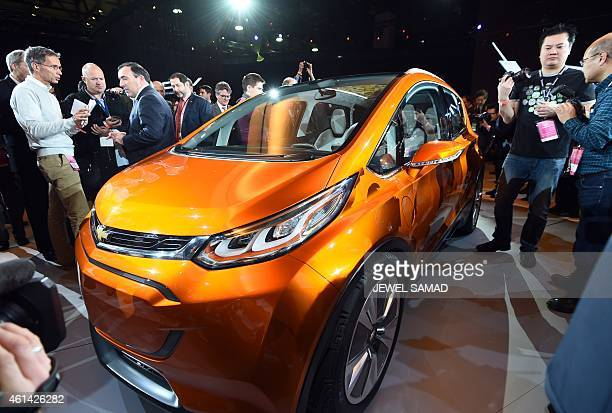 Chevrolet reveals their electric concept car Bolt EV to the media at The North American International Auto Show in Detroit Michigan on January 12...