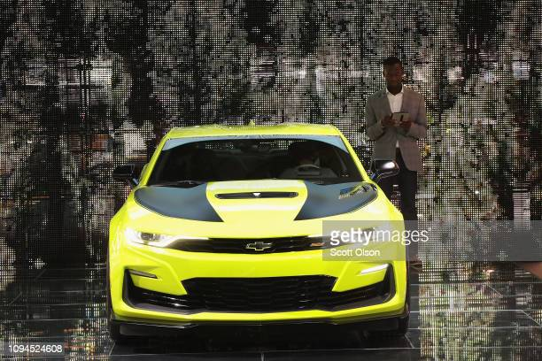 Chevrolet shows off their Camaro at the North American International Auto Show at the Cobo Center on January 15 2019 in Detroit Michigan The show is...