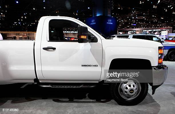 Chevrolet Silverado 3500 HD truck is on display at the 108th Annual Chicago Auto Show at McCormick Place in Chicago Illinois on February 19 2016