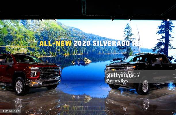 Chevrolet Silverado HD's are on display at the 111th Annual Chicago Auto Show at McCormick Place in Chicago Illinois on February 7 2019